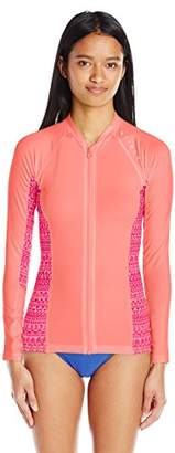 Rip Curl Women's Trestles Long-Sleeve Front-Zip UV Rashguard with Printed Side Panels
