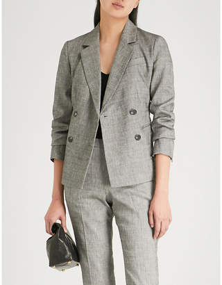 Theory Double-breasted linen-blend blazer