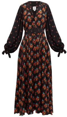 Gül Hürgel Contrast Sleeve Belted Poplin Dress - Womens - Navy Print
