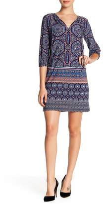 London Times Patterned 3/4 Sleeve Tie Neck Shift Dress (Petite)