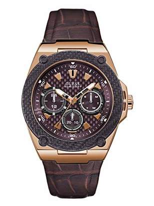 GUESS Brown Genuine Leather Watch with Brown Dial