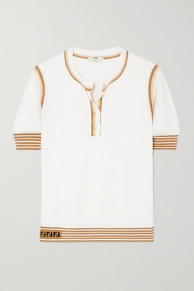Fendi Striped Ribbed Silk Top - White
