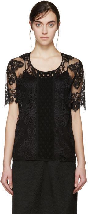 Burberry Prorsum Black Lace Blouse