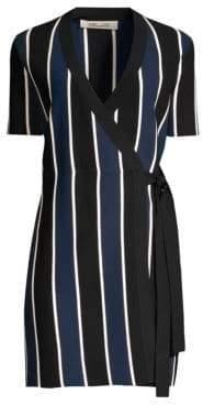 Diane von Furstenberg Women's Iris Stripe Wrap Dress - New Navy/Black/Ivory - Size Small