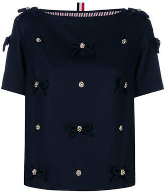 Thom Browne Bow Applique Flannel T-shirt