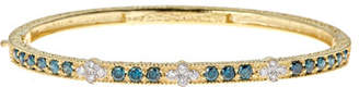 Farah Tanya Modern Etruscan Blue & White Diamond Bangle Bracelet