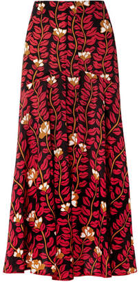 Sonia Rykiel Printed Silk Crepe De Chine Midi Skirt - Red