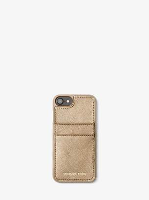 MICHAEL Michael Kors Metallic Saffiano Leather Phone Case For iPhone7/8