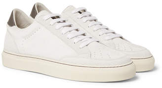 Brunello Cucinelli Leather-Trimmed Suede Sneakers - Men - Off-white