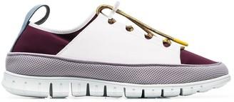 Sunnei maroon Watershoe caged leather low-top sneakers