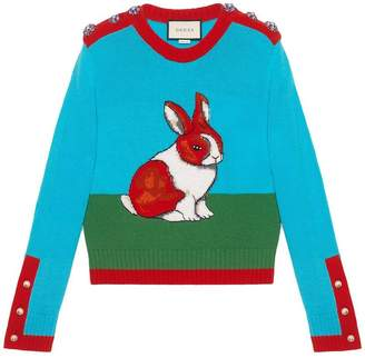 Gucci Rabbit intarsia wool knit top