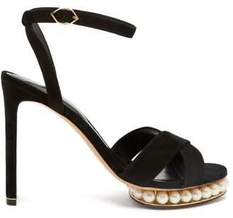 Nicholas Kirkwood Casati Faux Pearl Embellished Suede Sandals - Womens - Black