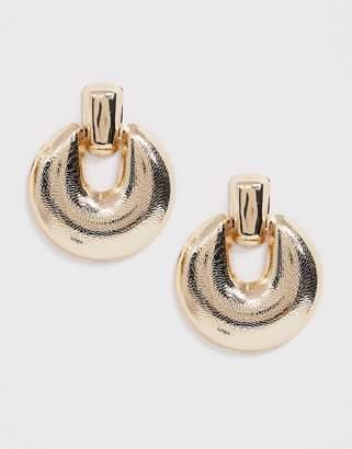Asos Design DESIGN earrings in engraved doorknocker design in gold tone