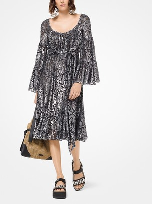 Michael Kors Metallic Floral Fil Coupe Dress