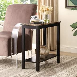 Roundhill Lediyana Faux Marble Top Side Table in Espresso Finish
