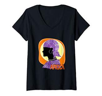 Womens Ethnic African Tribal Woman Graphic V-Neck T-Shirt
