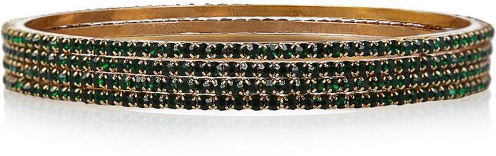 Isharya Set of four gold-plated crystal bangles