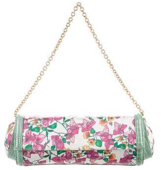 Casadei Leather-Trimmed Floral Clutch