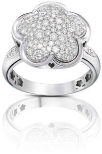 Pasquale Bruni Bon Ton 18k White Gold Diamond Flower Ring, Size 6