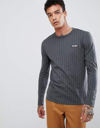 Dickies Doswell stripe long sleeve t-shirt in gray