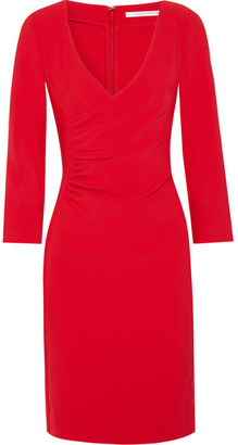 Diane von Furstenberg - Eliana Ruched Stretch-crepe Dress - Red $430 thestylecure.com