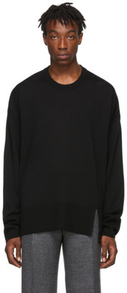 Wooyoungmi Black Oversize Crewneck Sweater