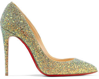Christian Louboutin Pigalle Follies Dragonfly 100 Glittered Leather Pumps - Green