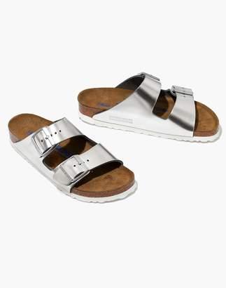 Madewell Birkenstock Arizona Sandals in Silver Leather