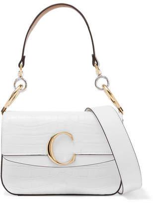 Chloé C Small Leather-trimmed Croc-effect Shoulder Bag - White