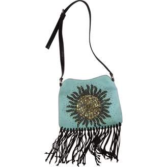 Valentino 100% Authentic Sky Blue Suede Leather Beaded Shoulder Bag W Fringe
