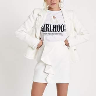 River Island Womens White frill front boucle mini skirt