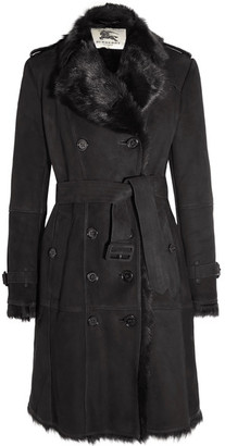 Burberry - Double-breasted Shearling Coat - Black $3,300 thestylecure.com
