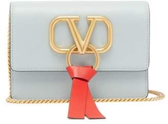 Valentino V Ring Small Leather Cross Body Bag - Womens - Light Blue
