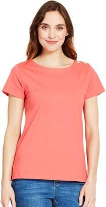 Izod Women's Button-Shoulder Solid Tee