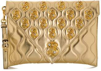 Moschino dollar sign motif plaque clutch