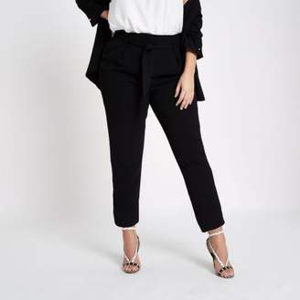 River Island Plus black soft tapered pants