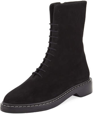 The Row Fara Lace-Up Suede Combat Boot, Black