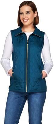 Susan Graver Zip Front Sweater Vest with Quilting Detail