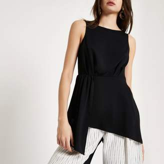 River Island Womens Black asymmetric hem sleeveless tunic top