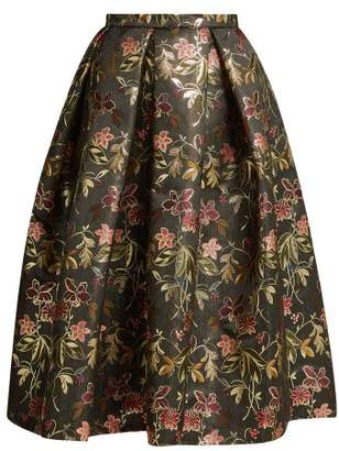 Erdem Ina Floral Jacquard Skirt - Womens - Black Multi
