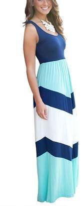 Mooncolour Women`s Chevron Zig Zag Wave Striped Tank Top Maxi Dress (U/Asian XL, Navy)