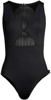 Shan Clara Stripe Mesh One-Piece Swimsuit