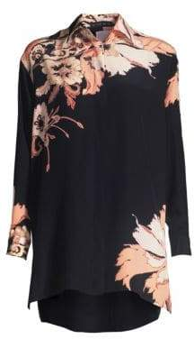 Etro Poppy Silk Tunic Blouse