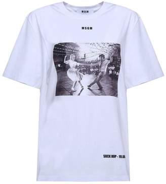 MSGM Sock Hop-print Cotton-jersey Oversized T-shirt
