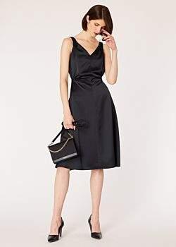 00563173bde Women s Black Satin Sleeveless Tuxedo Dress