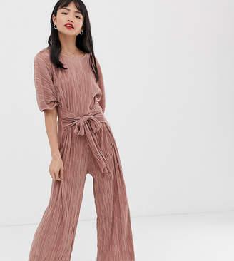 Asos DESIGN Petite plisse tie front culotte jumpsuit