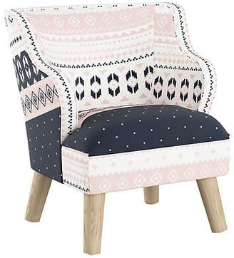 One Kings Lane Kira Kids' Accent Chair - Blush Fair Isle Linen