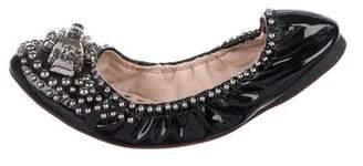 Miu Miu Patent Leather Embellished Flats