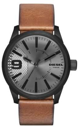 Diesel R) 'The Rasp' Leather Strap Watch, 46mm