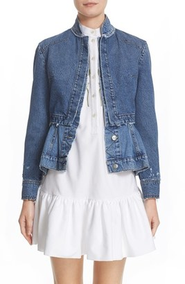 Women's Alexander Mcqueen Peplum Denim Jacket